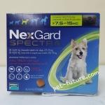 NexGard Spactra 7.5-15 kg. Exp.09/19 ป้องกันเห็บ หมัด พยาธิหนอนหัวใจ พยาธิทางเดินอาหาร