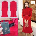 Red Guipure Lace Long Sleeve Dress