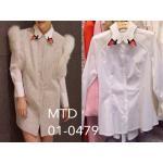 Swan Shirt Detail : เสื้อเชิ้ตคอปกแขนยาวค่ะ งานสวยๆสไตล์สาวเกาหลีค่ะ ดีเทลของตัวเสื้อโดดเด่นด้วยการตกแต่งคอปกเสื้อเป็นปากหงส์