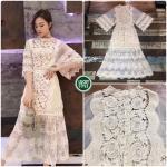 Dressขาวครีมแขนบานโครเชลายดอก