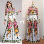 Printed Long Sleeve Maxi Dress With Collar