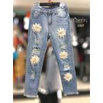 Ripped 3D Floral Jeans
