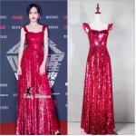 Maxi Dress เดรสยาวสายเดี่ยวสีแดง