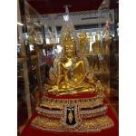 พระพุทธชินราช9นิ้ว เนื้อทองเหลืองปิดทองประดับอัญมนี หน้าตัก 9 นิ้ว หนึ่งเดียว รหัส 0174