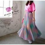 Skirt กระโปงยาวสีรุ้ง อัดพลีท
