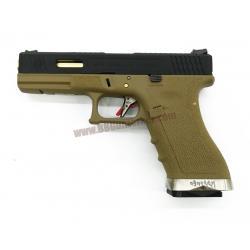 Glock17 Brand War T6 เฟรมทราย สไลด์ดำ ท่อทอง - WE