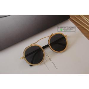 แว่นกันแดดแฟชั่น แนววินเทจ รุ่น Clockwork Gold