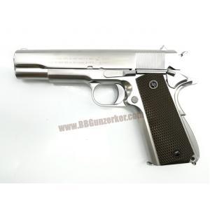 M1911A1 สีเงิน กริ๊ปน้ำตาล - WE New Gen