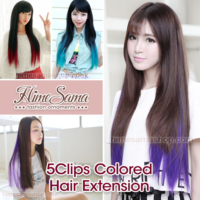 5 Clips Colored Staight Hairpiece