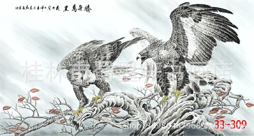 ภาพพิมพ์ ลายภาพวาดพู่กันจีน เหยี่ยวคู่ 50*100cm cnn19