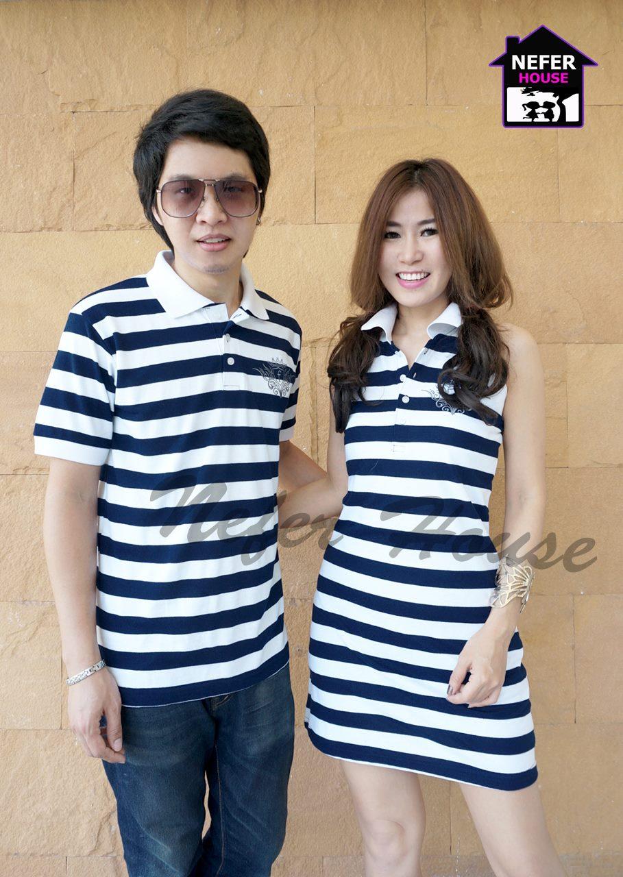 เสื้อคู่รักโปโลแขนกุดสีน้ำเงินกรมริ้วขาวมีไซส์ xl