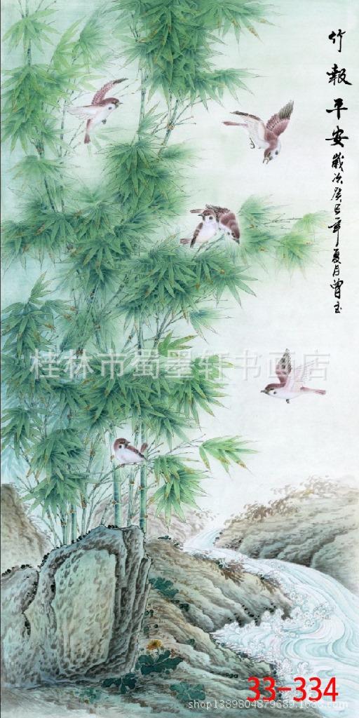 ภาพพิมพ์ ลายภาพวาดพู่กันจีน ไผ่ซ้าย 50*100cm cnn20