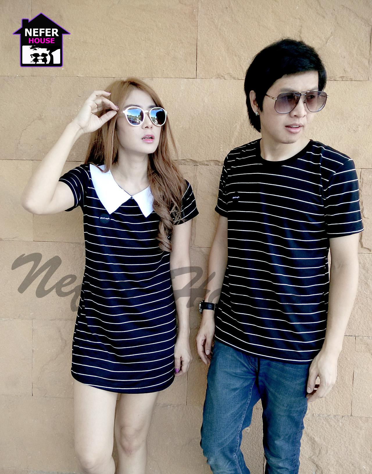เสื้อคู่เกาหลี ผ้ายืดโปโลสีน้ำเงินริ้วขาวแต่งดีเทลปกขาว