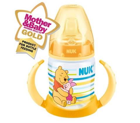 ขวดหัดดื่ม Nuk 6M+ ลายหมีพูห์ สีเหลือง