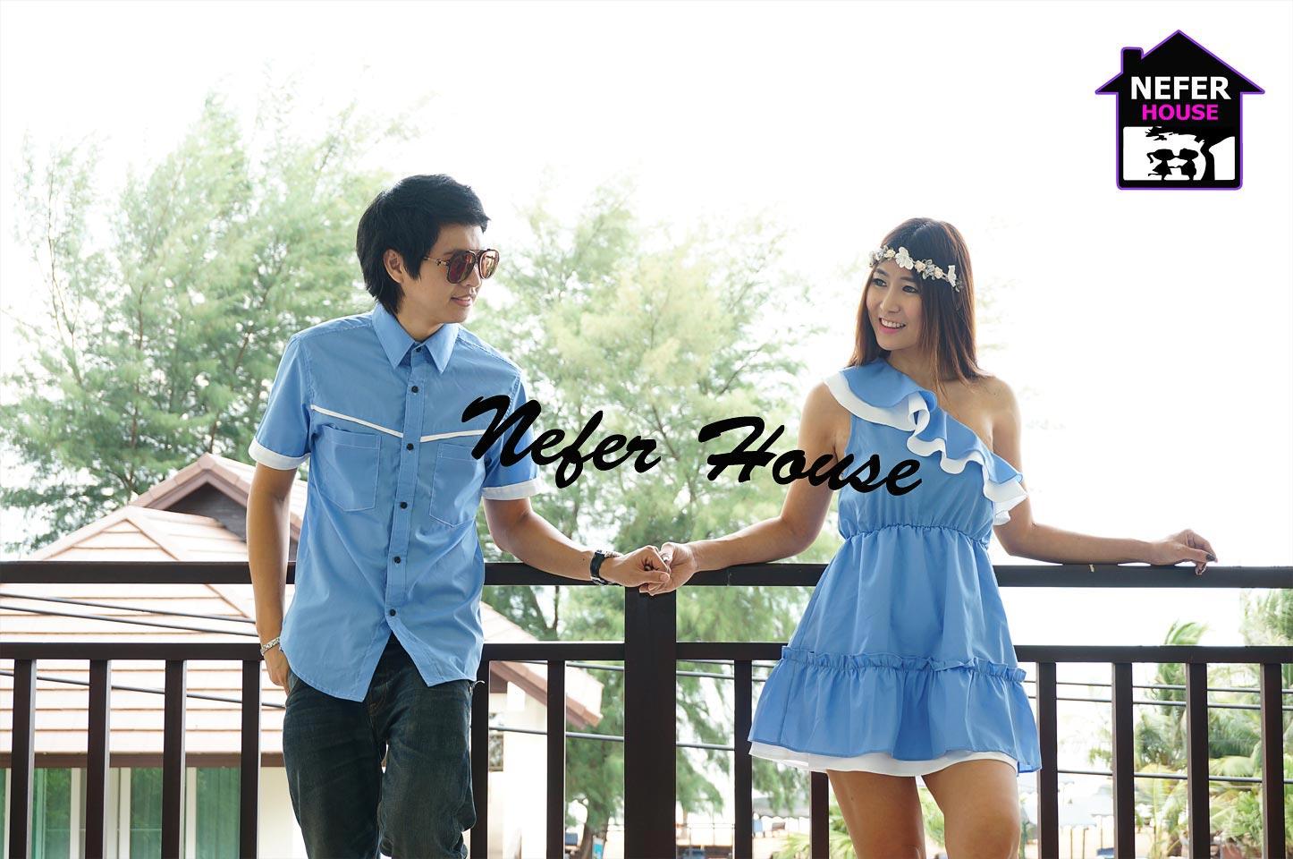 ชุดคู่รักสวยๆ ชุดคู่รักพร้อมส่ง สีฟ้า-ขาวสดใส pattern และDesignเก๋ๆ