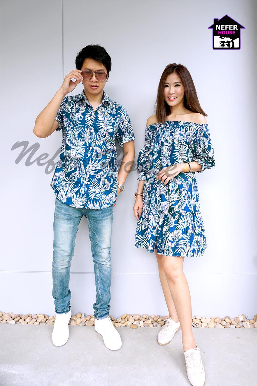 ชุดคู่รักเสื้อฮาวาย ชุดไปทะเล