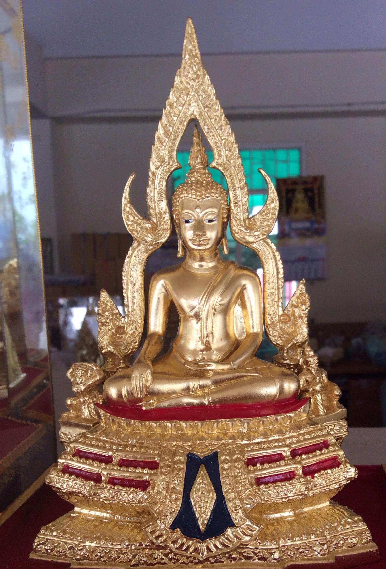 พระพุทธชินราชเ3นิ้ว ทองเหลืองปิดทองหน้าตัก 3 นิ้ว ออกโดยวัดใหญ่พิษณุโลก รหัส0156