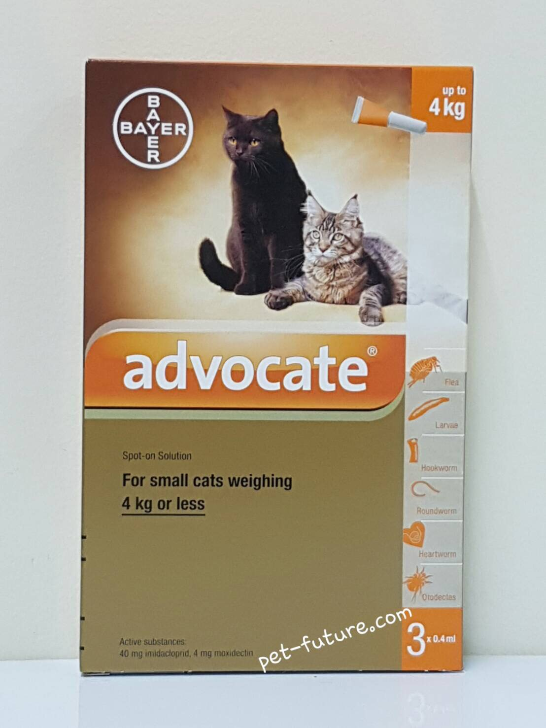 Advocate สำหรับแมว นน.0-4 kg. Exp.11/18