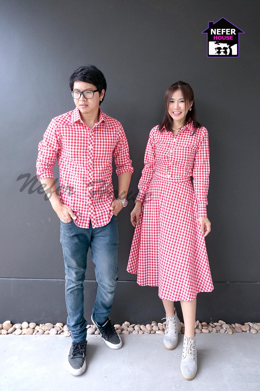 เสื้อเชิ้ตคู่ลายสก็อตโทนสีแดง