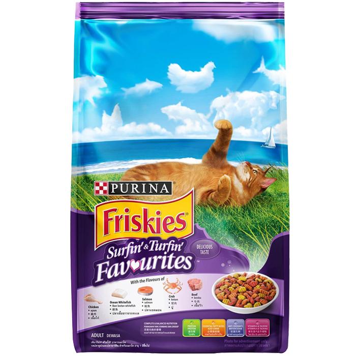 ฟริสกี้ส์ เซิร์ฟฟิ่ง แอนด์ เทิร์ฟฟิ่ง อาหารแมวสูตรปลาทูน่า และซาร์ดีน ขนาด 3 kg