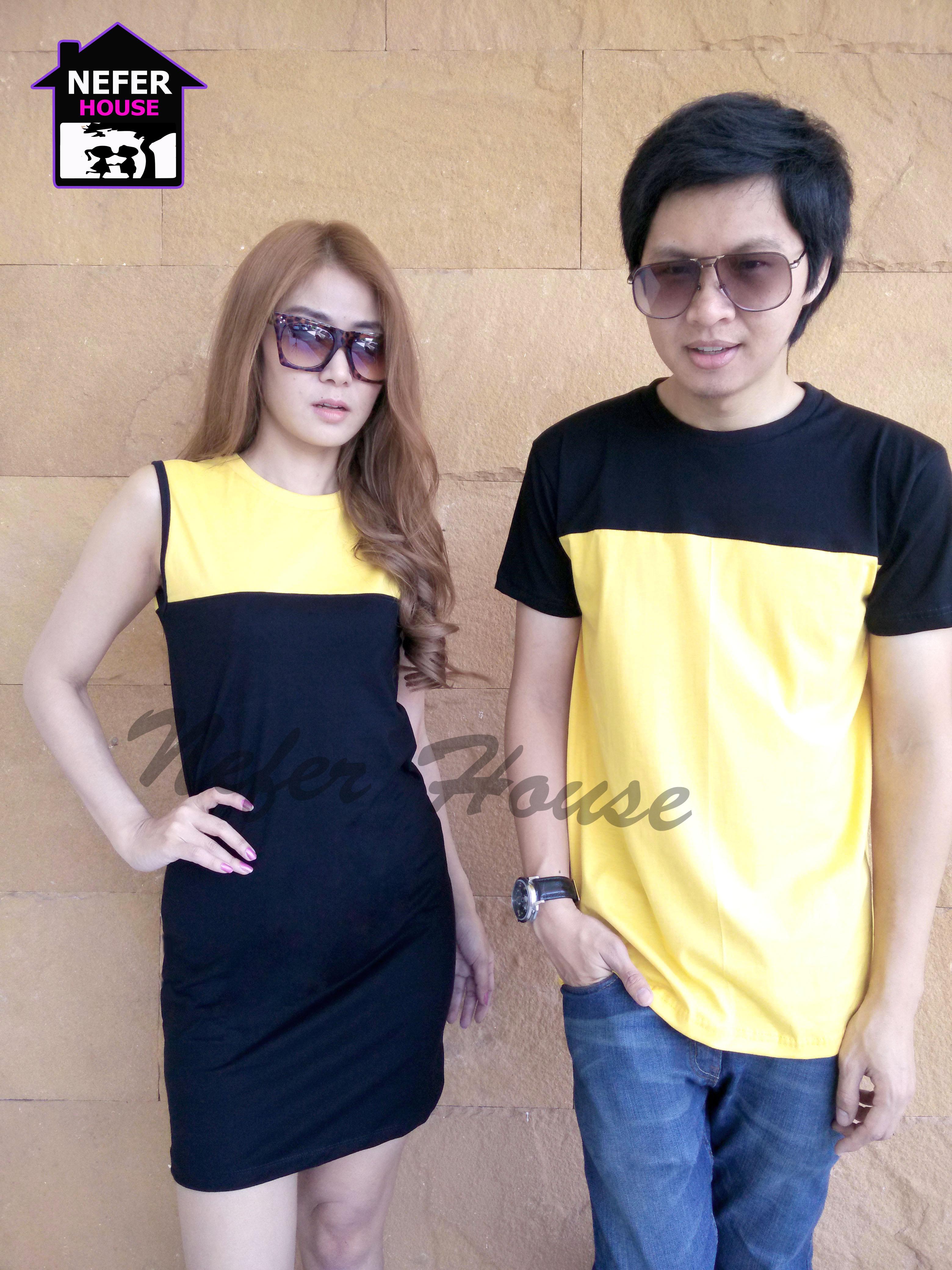 ชุดคู่รัก ชุดคู่ เป็นสีทูโทนเหลืองดำ สีสันสดใส