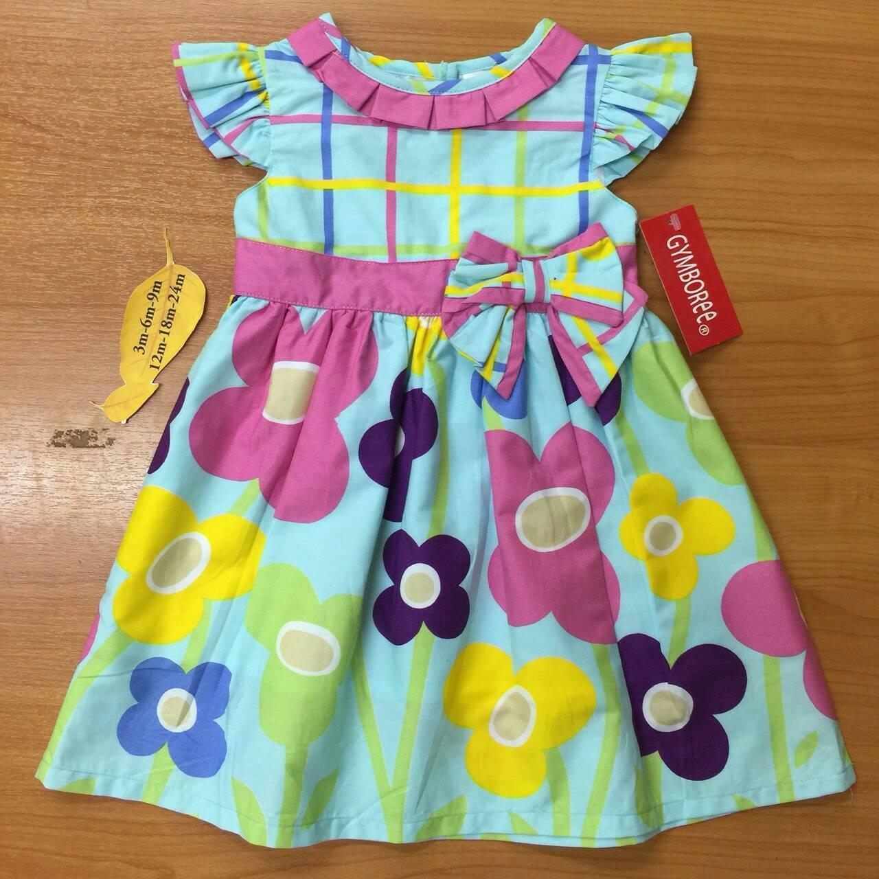 เสื้อผ้าเด็ก แรกเเกิด-9เดือน size 3m-6m-9m ลายดอกไม้ พื้นหลังสีฟ้า
