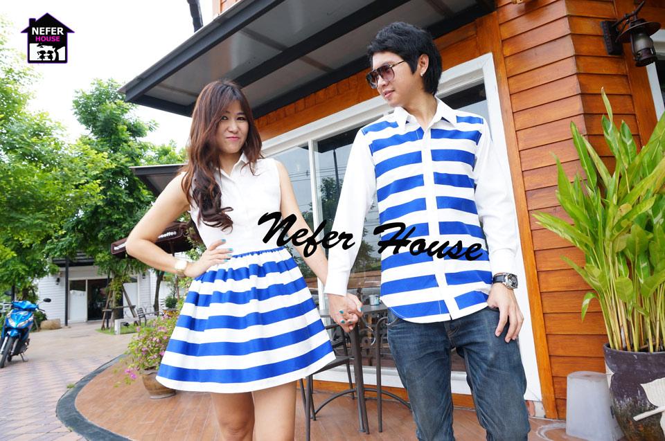 เสื้อคู่รัก ชุดคู่รัก สีน้ำเงินสด-ขาว ลายขวาง สวยมากๆ