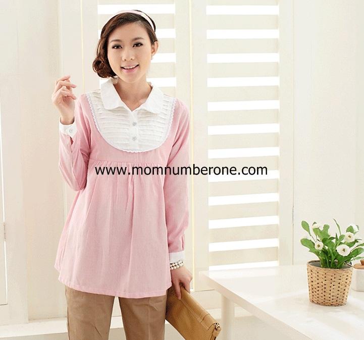 เสื้อคลุมท้อง สีชมพูลายทางตีเกร็ด (เปิดให้นมได้)