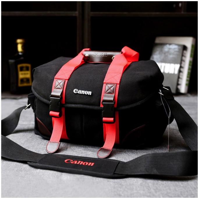 กระเป๋ากล้องDSLRสะพายข้าง-Black&Brown แต่งหนังPU Canon