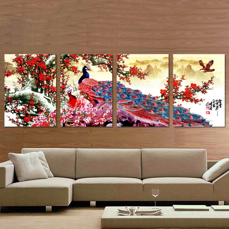 Arthome130 ภาพนกยูงกับต้นบ๊วยแดง