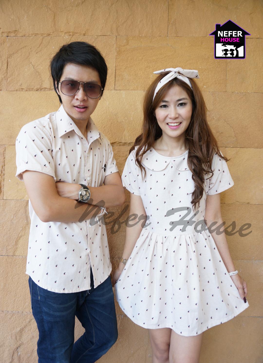เสื้อคู่รัก สไตล์เสื้อคู่เกาหลีดูผู้ดีมากๆค่ะสีนี้