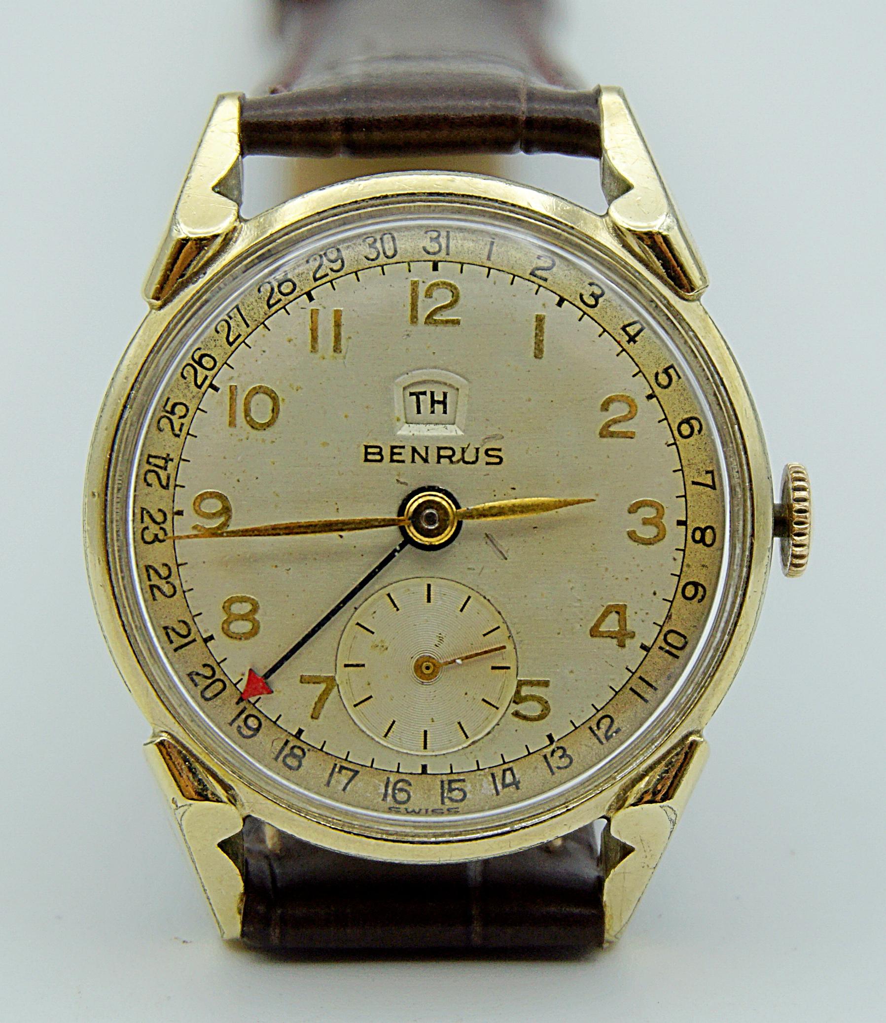 นาฬิกาเก่า BENRUS POINTER DATE ไขลาน