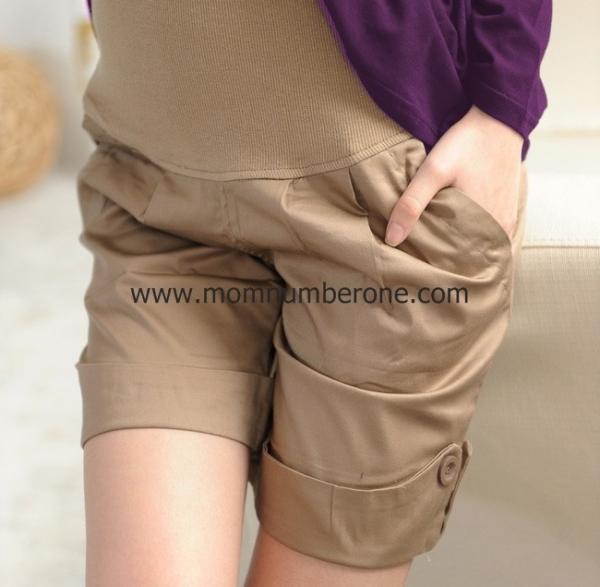 TXL39038Kakee กางเกงคลุมท้อง ขาสั้นสีกากี Size XL