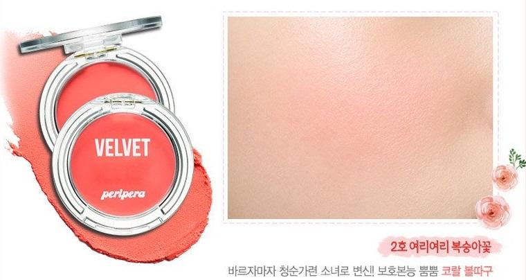 Peripera Velvet Cheek #2 Affable Peach