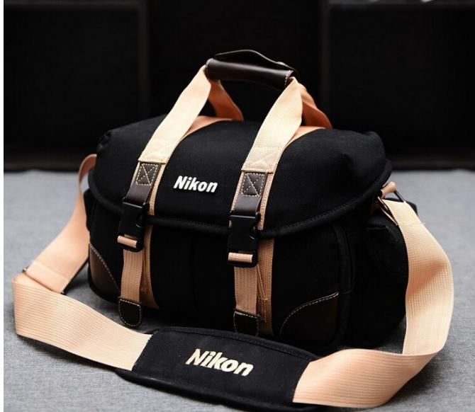 กระเป๋ากล้องDSLRสะพายข้าง-Black&Brown แต่งหนังPU Nikon