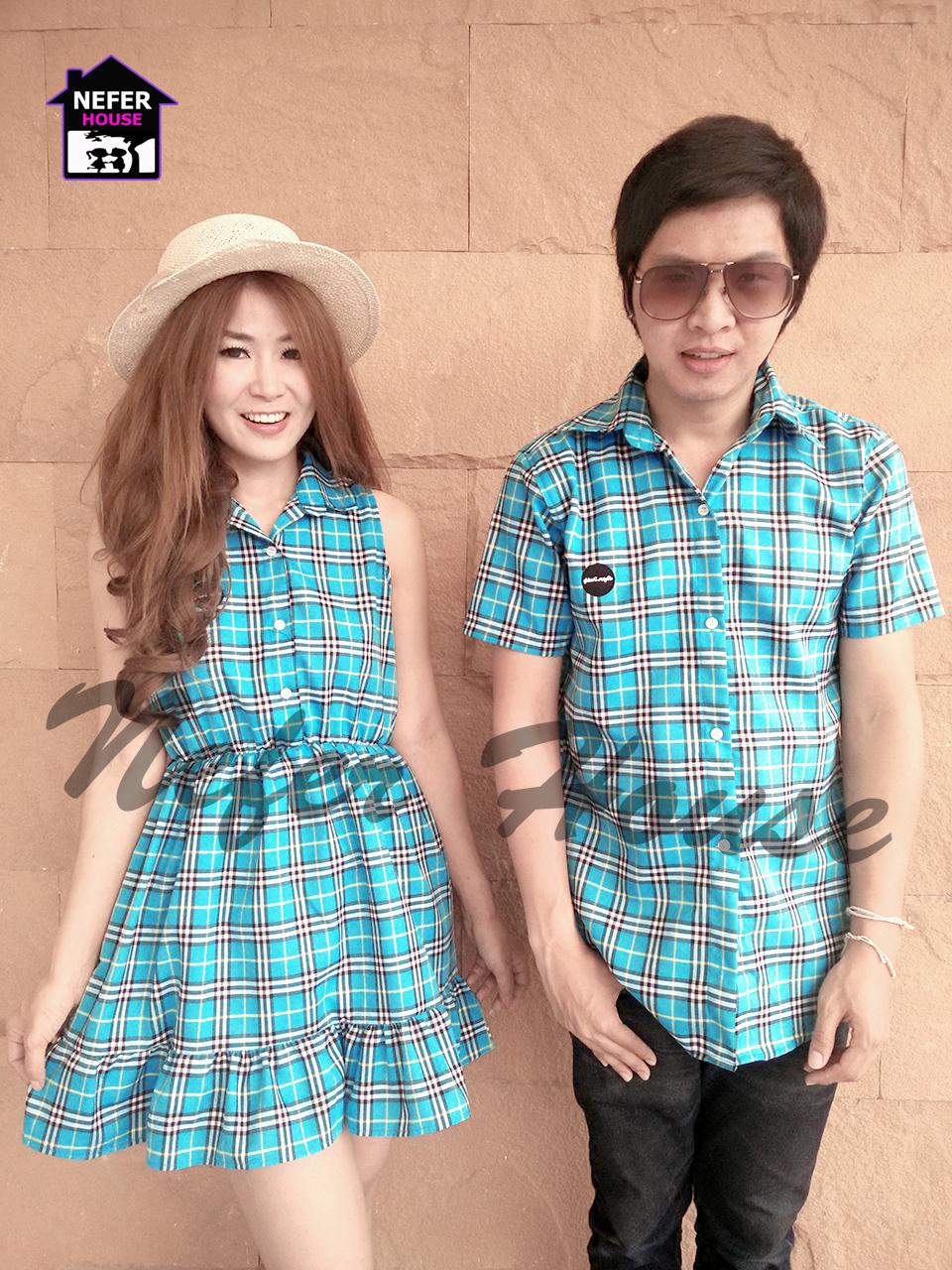 ชุดคู่รักเกาหลี เชิ๊ตชายแขนสั้นลายเบอเบอรี่สีฟ้า มาพร้อมกับเดรสคอปกผ่าหน้า