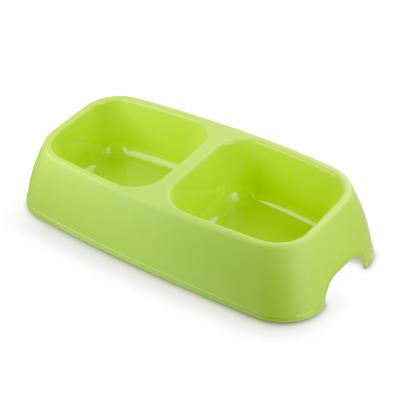 ชามอาหารสุนัข 2 ช่อง รุ่น Bread สี Spring Green 34x6.5cm