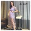 SPT Brand @ Sheer Embroidered-Mesh Maxi Dress Dress ลูกไม้ซีทรูกระโปรงยาวแขนสั้นสีม่วงมีโบว์เล็กๆที่แขนสองข้าง ซับในเป็นสายเดี่ยวกระโปรงสั้นผ้าเรียบ ซิปซ่อนด้านหลัง ใช้ผ้าซีทรูเนื้อดีเป็นงานที่มีดีเทลทั้งตัวเป็นลายปักดอกไม้เล็กๆทั้งตัวสลับกับลายใบไม้เล็กๆ