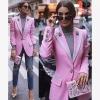 เสื้อแจ้กเกตสไตล์ทักสิโด้สีชมพูแต่งขอบรอิบบิ้