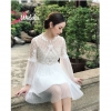 Brand :: Thea Dress แขนยาวกระโปรงทรงพอง ใช้ผ้าซีทรูปักลวดลายที่ตัวเสื้อสวยหรู