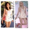 Gems line playsuit จั๊มสูทแขนสามส่วนผ้าออแกนซ่าตรงช่วงแขนค่ะ