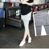 เลคกิ้งกางเกงกระโปรงซิบขาสี่ส่วนสีเทาอ่อน