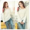 Mohair rose sweater Romantic knit เสื้อเสว็ตเตอร์ผ้าไหมพรมขนแกะ ดีเทลช่วงไหล่ด้านเดียวเป็นไหมพรมถักนิตติ้ง