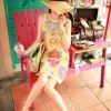 มินิเดรสแขนกุด สีสันสดใส ช่วงคอถึงอกเป็นผ้าซีทรูปักลูกปัดมุกแฮนด์เมด