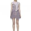 Self portrait studio Purple pearl dress เดรสลูกไม้แขนกุดปัดมุขรอบคอ