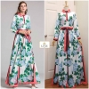 Ortensia Printed Long Sleeve Maxi Dress With Collar