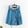 fashion เสื้อคลุมกันหนาว ผ้าขนสัตว์ สีฟ้า (่รอสินค้า15-20วัน)