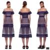 Self Protrait Dress เดรสทอไหมลายทางสลับลายช่องเล็ก งานแบรนด์ชื่อดังระดับโลก Self Portrait ดีไซน์สวยหรูด้วยการตกแต่งบ่าตาข่ายสีเนื้อซีทรู