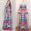 Embroidered Printed Long Sleeve Maxi Dress