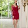 Dress คอวีแขนยาวลูกไม้สีชมพู จับจีบย่นเว้าอก